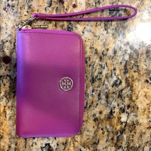 Tory Burch purple smart phone wristlet